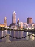Cleveland skyline from the Inner Harbor also called Voinovich park