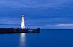 Beautiful night image of sunset blue of the Northern Michigan Lighthouse in St Ignace Michigan on Lake Huron in the Upper Peninsula of Michigan
