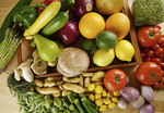Fruits and vegetables, including tomato, cucumber, lemon, lime, mushroom, zucchini, squash, brussel sprouts, asparagus, pepper, bell pepper and alfalfa sprouts.