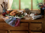 Thanksgiving dinner sitting on the window sell
