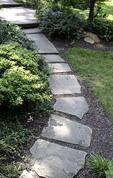 Flagstone walkway in a garden