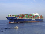 Large Container Ship  leaving Le Havre, Normandy, France