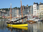 Yellow boat at Vieux Bassin, Honfleur, Normandy