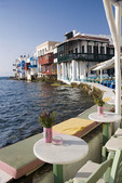 View of Little Venice area from restaurant in Mykonos Town, Greece