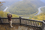 Birdwatcher at New River Gorge in West Virginia