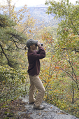 Female birdwatcher at New River Gorge
