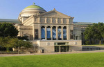 North face of the Museum of Science and Industry on Chicago's south side lakefront in Hyde Park.