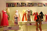 Young vistitors at the Rock and Roll Hall of Fame,  look at Supreme's costumes