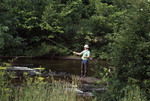 Man fly fishing on the Chagrin rRver in Northeast Ohio