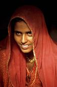 Indian Village Woman in  Great Thar Desert, India