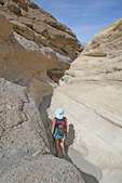 People hiking Mosaic Canyon, Death Valley National Park,