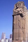 Gods of transportation overlooking city of Cleveland