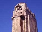 Gods of transportation overlooking the Lorain-Carnegie Bridge in Cleveland, Ohio