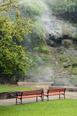 Cascade at Arlingtn lawn.  Thermal water tumbling down the hillside from the hot spring at Hot Springs National Park