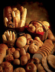 Still life of fresh breads and rolls