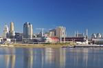The Cincinnati skyline as seen from Riverside Drive in Covington Kentucky.