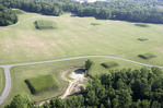 Alabama, Moundville Archaeological Park, AD 1000 to 1400, Mississippian Native American village, aerial,