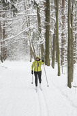Female Cross country skier in the woods