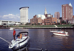 Families enjoy boating on the Cuyahoga River in Cleveland, Ohio