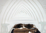 Animal skin Beds, sculpture, inside North America's only Ice Hotel, Ice Hotel, Hotel Glace, Quebec, Canada
