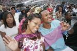 Ohio, Cincinnati, Paul Brown Stadium, Macy's Music Festival, smiling Black couple, male, female, audience,