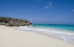 Beautiful peaceful and secluded beach with sand on East Coast of Barbados called Bottom Bay in the Caribbean