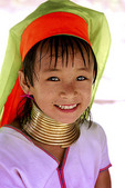 Young girl from Thailand with brass neck rings