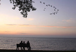 People enjoy sunset on Lake Erie in Mentor, Ohio