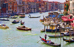 Grand Canal of Venice Italy with gondola boats and romantic waters of the city Venezia