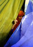 Afghanistan Refugees behind tent cloths