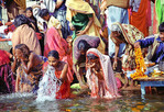 Sacred dip in Benares, Ganges, India