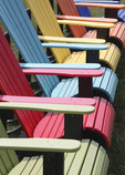 Colorful Adarondock chairs in a row