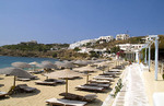 Beautiful island of Mykonos Greece and beach called St Stefanos Beach
