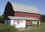 Red barn with produce stand
