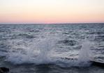 Lake Erie waves at sunset