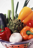 Fresh vegetables in a cauldron