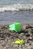 Toys on the beach at Mentor Headlands State Park Beach