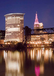Cleveland skyline during Breast Cancer Awareness Month