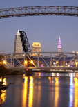 Cleveland, Ohio skyline at dusk from the Cuyahoga River