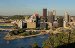 Pittsburgh Pennsylvania and the Three Rivers taken from Mt Washington showing skyline.