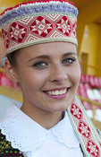 Great music traditional dress young singer portrait in costume in festival in village near Vilnius Lithuania Lithuanian