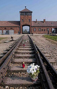 Birkenau Exterminating Camp tracks last train ride for prisoners Auschwitz Oswiecim Poland memorial flowers