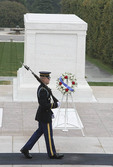 Guarding the grave of the unknown soldier at Arlington Cemetery
