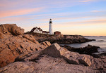 Night Gives Way To Day, Sunrise At The Portland Head Light, Portland, Maine