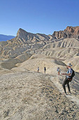 Hikers at Zabriskie Point, Death Valley National Park, California