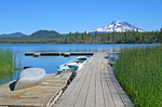 Boat docks at Lava Lake Resort Sister Mountain on Cascade Lakes National Scenic Byway Oregon