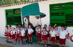 Young children outside a Cuban school