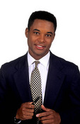 Black african american man portrait inside professional career with bright white background