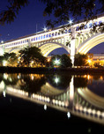 Lorain Carnegie Bridge at night in Cleveland, Ohio