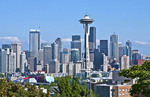 Seattle, Washington skyline from Queen Anne's Hill with Mt Rainier visable in background